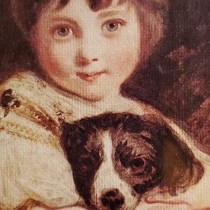 Vintage Wall Art - VINTAGE Italian Girl & Puppy Picture, Major Adorbs